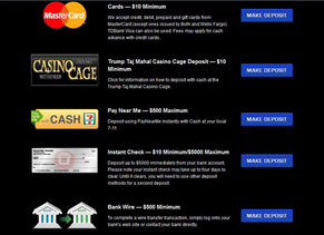 Ultimate Casino - Deposit Page